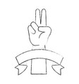 peace and love hand symbol vector image vector image