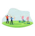 people with bow archery and target vector image