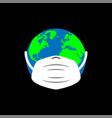 planet in medical mask global pandemic dangerous vector image vector image