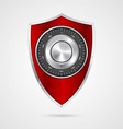 Protection red shield with the combination lock vector image