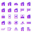 real estate gradient icons on white background vector image