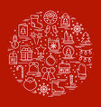 round line christmas with different vector image vector image