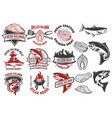 salmon meat labels and badges seafood grill fish vector image vector image