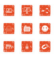 school building icons set grunge style vector image vector image