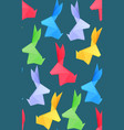 seamless texture with multicolored origami hares vector image