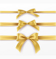 set golden bow and ribbon on white background vector image vector image