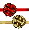 set of two bows red and gold on a white background vector image vector image