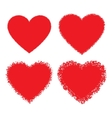 set red hand drawn grunge hearts vector image vector image