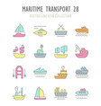 set retro icons maritime transport vector image vector image