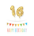 sixteen cute birthday card template gold glitter vector image
