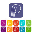 skipping rope icons set vector image vector image