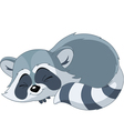 sleeping cartoon raccoon vector image vector image