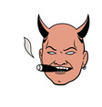 smoking devil head vector image vector image
