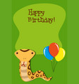 snake on happy birthday template vector image vector image