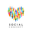 social conceptual emblem with heart sign vector image vector image