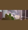 strong tornado destroy city hurricane damaging vector image
