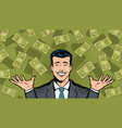 successful businessman and dollars wealth vector image vector image