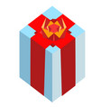 surprise blue box with red bow delight present vector image