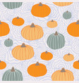 thanksgiving pumpkins orange green blue on organic vector image