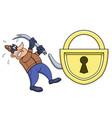 thief has broken his crowbar vector image vector image