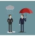 Two Businessmen in Rain vector image vector image