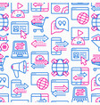 web traffic seamless pattern with thin line icons vector image