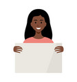 woman african american holding a empty placard vector image vector image