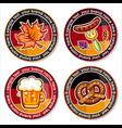 oktoberfest set of drink coasters for celebration vector image