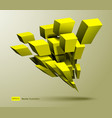 3d composition yellow cubes in perspective vector image