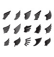 a set black wings outline on white background vector image