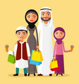arabian man woman and children shopping vector image vector image
