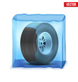 automobile wheel in the ice cube vector image