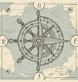 banner with wind rose old compass and ship wheel