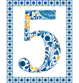 Blue number 5 vector image vector image