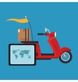 Box and motorcycle of delivery concept design vector image vector image