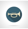 Brass horn flat color round icon vector image vector image