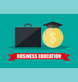 business briefcase graduation cap gold coin vector image vector image