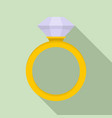 ceremonial diamond ring icon flat style vector image vector image