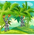 Child jungle with coconut trees vector image vector image