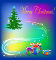 christmas tree with light decoration and the text vector image
