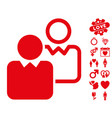 clients icon with valentine bonus vector image vector image