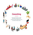 coworking people and equipment 3d banner card vector image vector image
