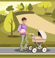 father pushing a stroller in the park vector image vector image