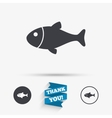 Fish sign icon Fishing symbol vector image vector image