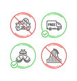 free delivery ship and car leasing icons set vector image vector image