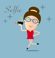 girl taking selfie photo on smart phone vector image vector image