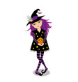 halloween of young witch girl with purple hair on vector image
