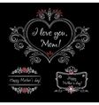 Happy mothers day vintage elements with flowers on vector image vector image
