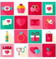 happy valentines day colorful icons vector image vector image