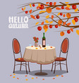 hello autumn cafe table with wine for two persons vector image vector image